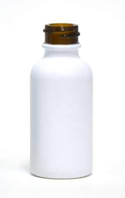 White powder coated amber 30ml glass bottle
