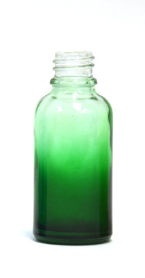 Green gradation coated 30ml glass bottle