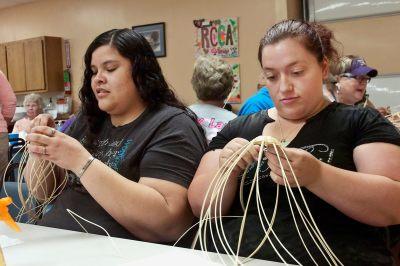 Teaching Basket Weaving, Rogers County Cherokees, Claremore OK