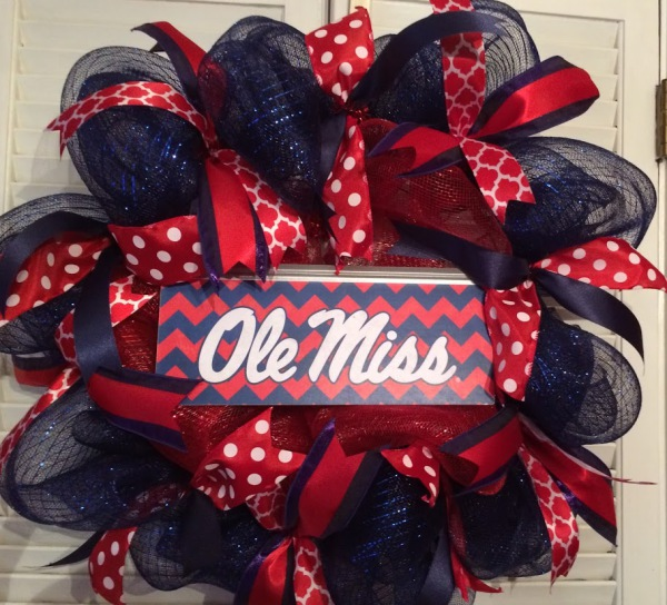 ole miss chevron wreath