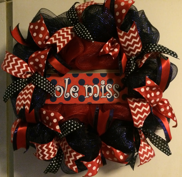 Ole miss polka dots wreath