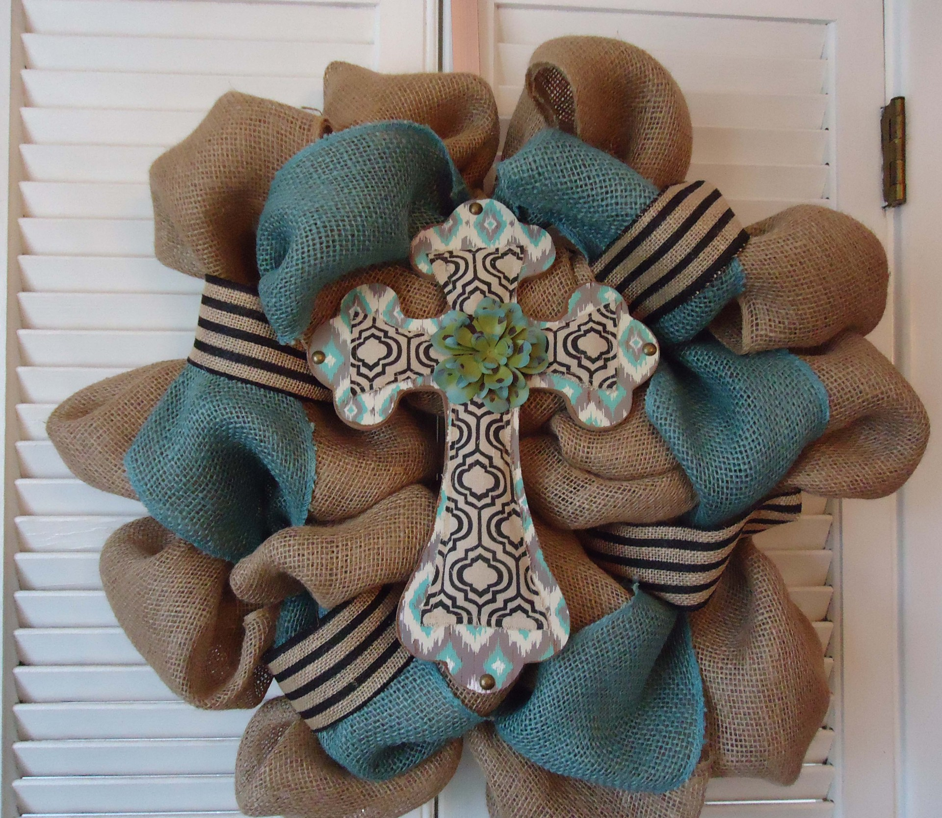 Burlap aqua Cross Wreath