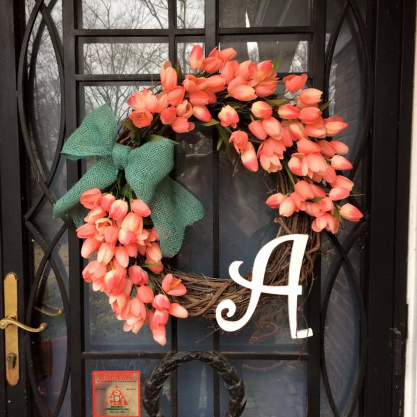 Coral Tulips Wreath