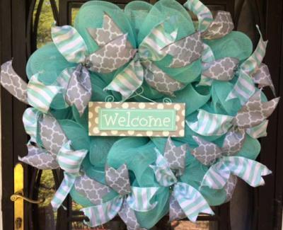 Aqua and Gray Welcome Wreath