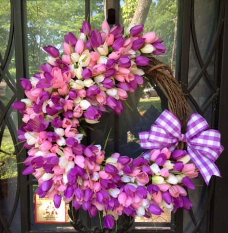 Purple and Pink Tulips Wreath