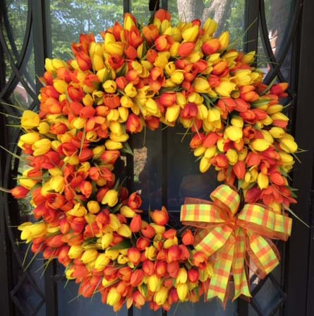 Orange and Yellow Tulips Wreath