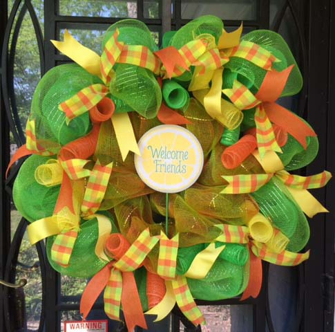 Welcome Friends - Green, yellow and Orange Wreath
