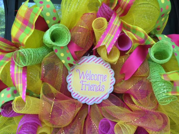 Welcome Friends - pink, green, and yellow Wreath