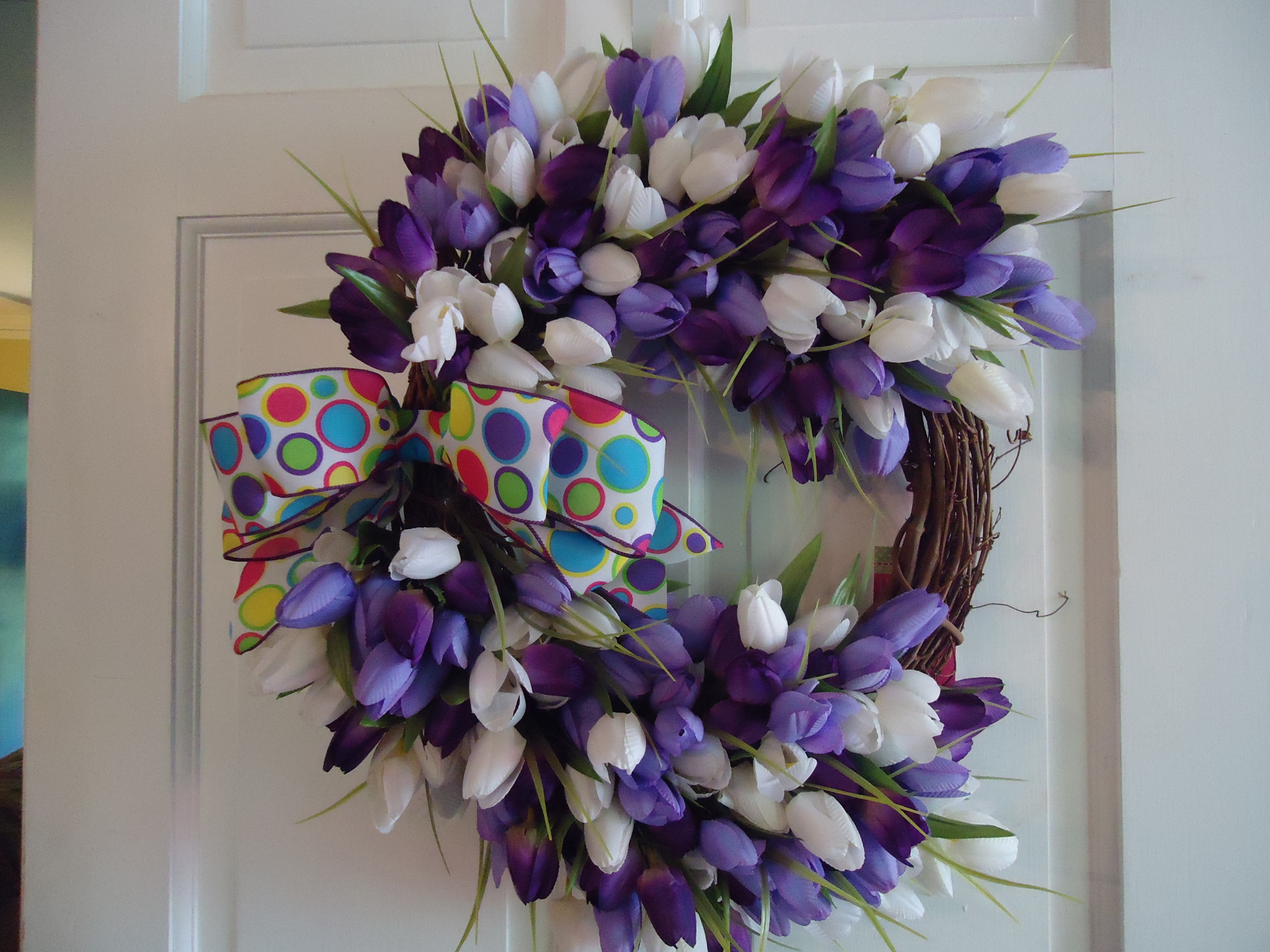 Purple, Lavender, and White Spring Tulips Wreath
