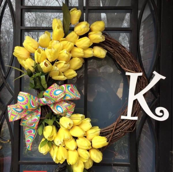 Yellow Tulip with Monogram