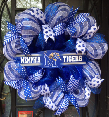 University of Memphis collegiate deco mesh wreath