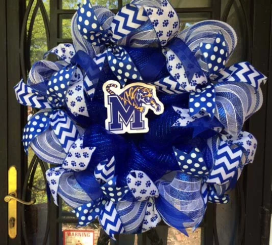 University of Memphis Blue and White small decal Wreath
