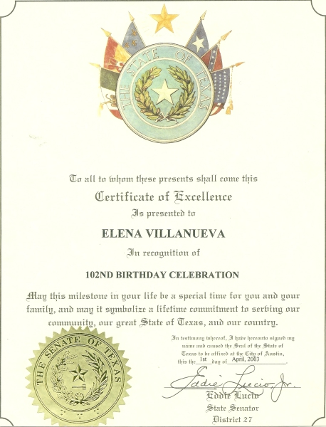 102nd Birthday Wish/Certificate for Elena Villanueva from Senator of Texas