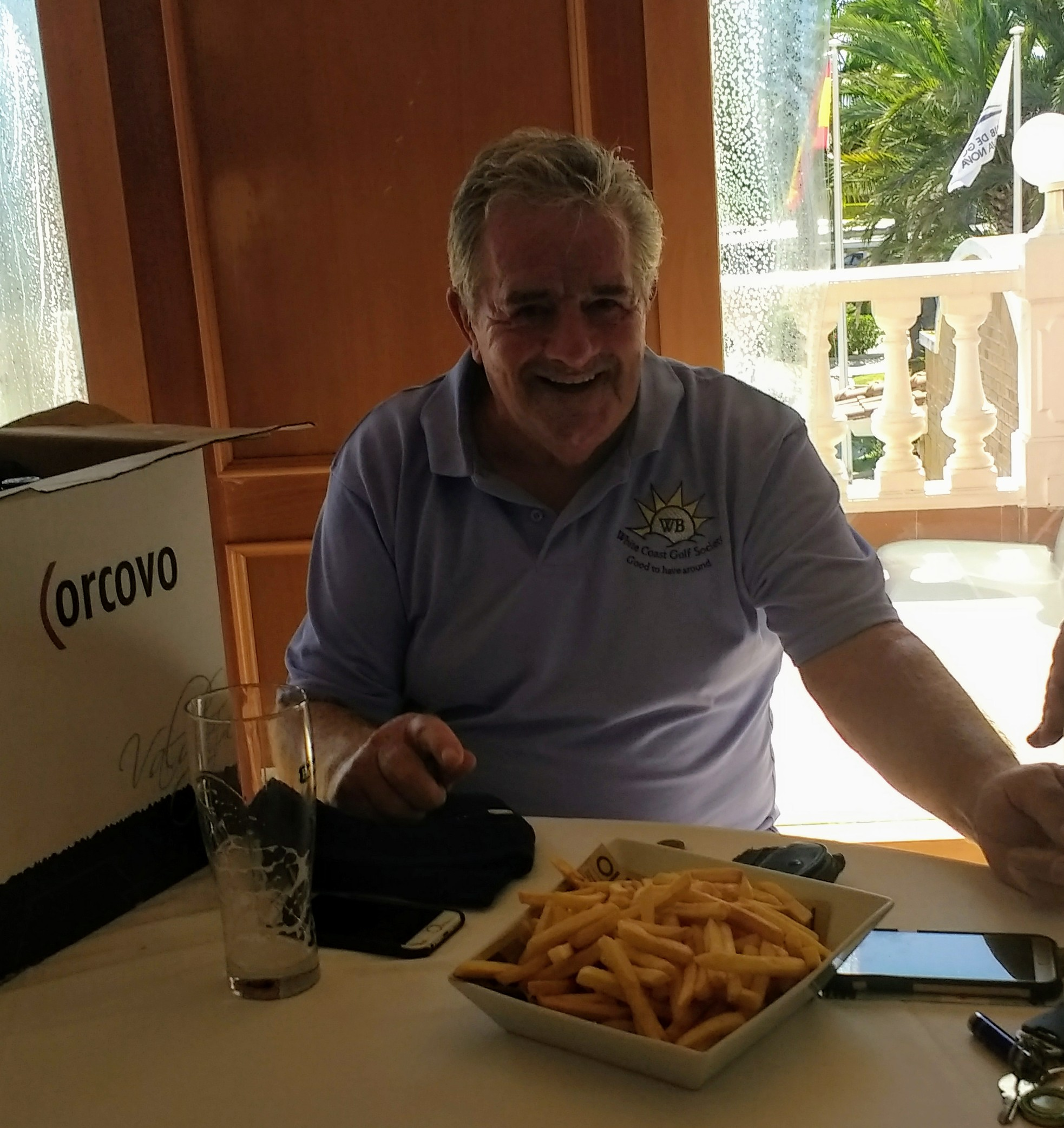 A box of wine, a pint and a small plate of chips after the battle. Traditional Guernsey celebration