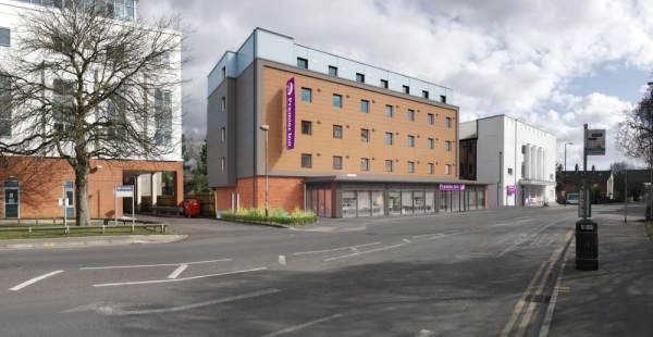 The new Premier Inn with Travelodge to the left