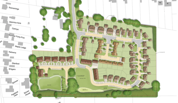 Plans submitted by T A Fisher for 65 homes in Woodcote