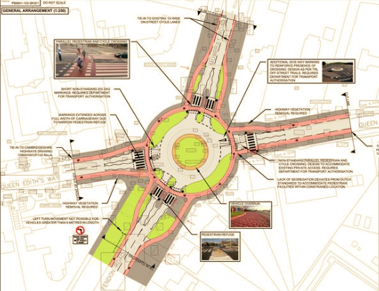 Cycle friendly roundabout to be built in Cambridge
