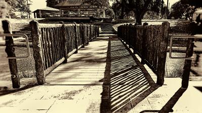 B&W - Landa Park Bridge - Linda Knox