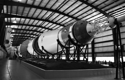 B&W - Saturn 5 at JSC - Mike Smeltzer