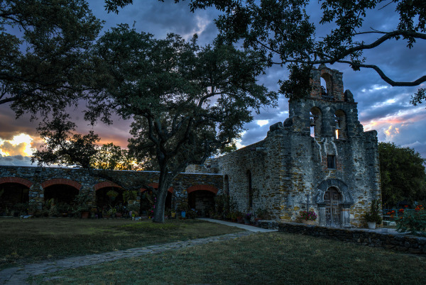 Sunset at Mission Espada by Sharon Deeny