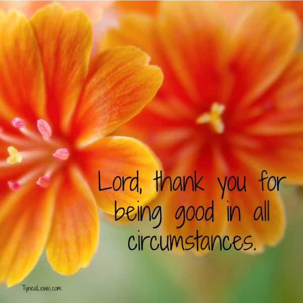 Lord, thank you for being good in all circumstances.