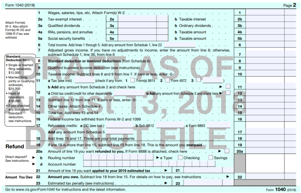 Form 1040 Changes