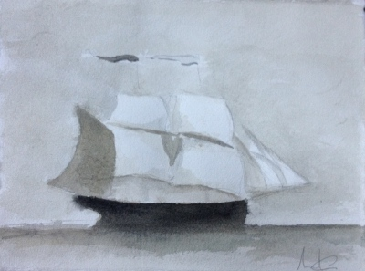 Schooner with Flags
