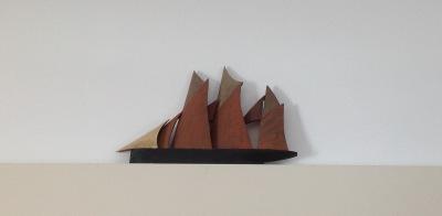 Schooner with Red Sails