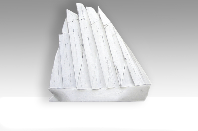 Frigate with White Sails