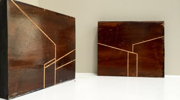 Incised reclaimed wood panels, 8 X10 in.