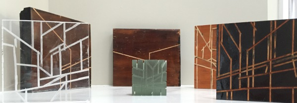 Group of incised Wood and Acrylic Sculpture