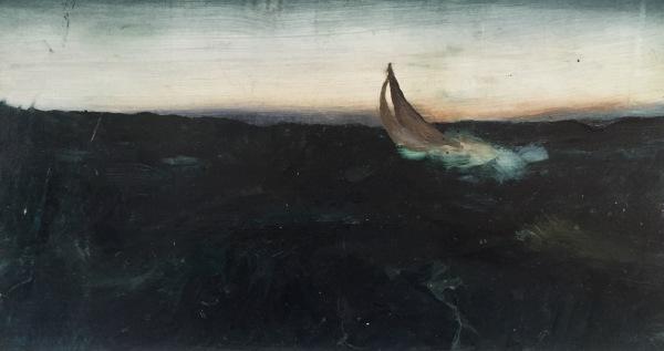 Sailing in Rough Seas II, Oil on Board 6 X 10 in.