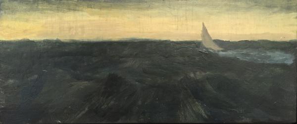 Sailing in Rough Seas IV, Oil on Board 6 X 10 in.