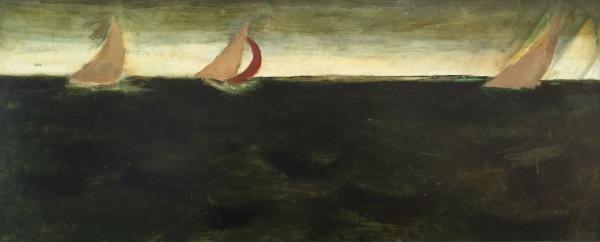Sailing in Rough Seas V, Oil on Board 12 X 16 in.