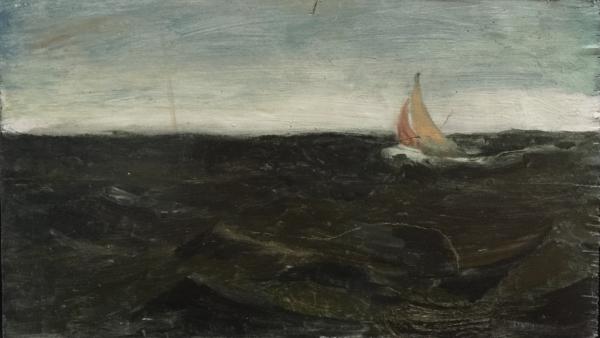 Sailing in Rough Seas I, Oil on Board 6 X 10 in.