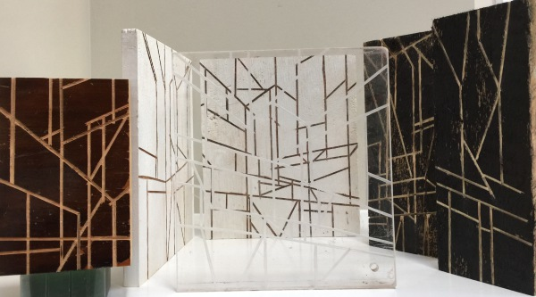 Group 2 of Incised reclaimed Wood and Acrylic Sculpture