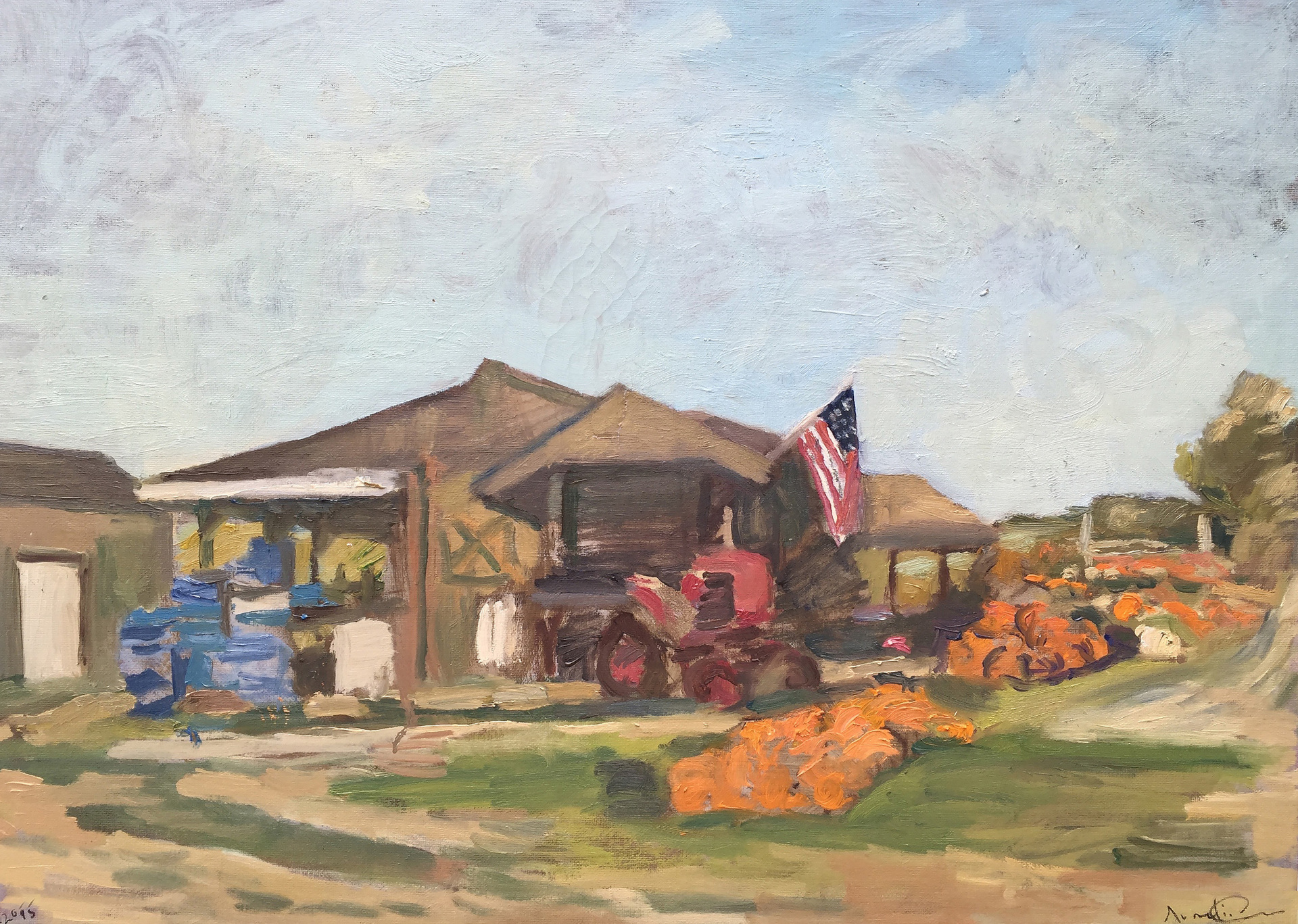 Balsam Farms with Pumpkings and Flag