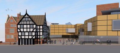 A Design for a Re-development of Shrewsbury Museum and Art Gallery with New Tourist Information Centre by Contemporary, Modern and Conservation architects Baart Harries Newall (BHN architects) based in Shrewsbury.
