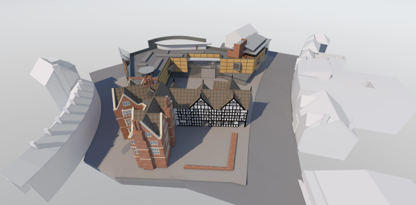A design for a re-development of Shrewsbury Museum and Art Gallery with new tourist information centre.