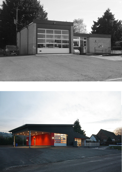 Existing and Finished Clun Fire Station