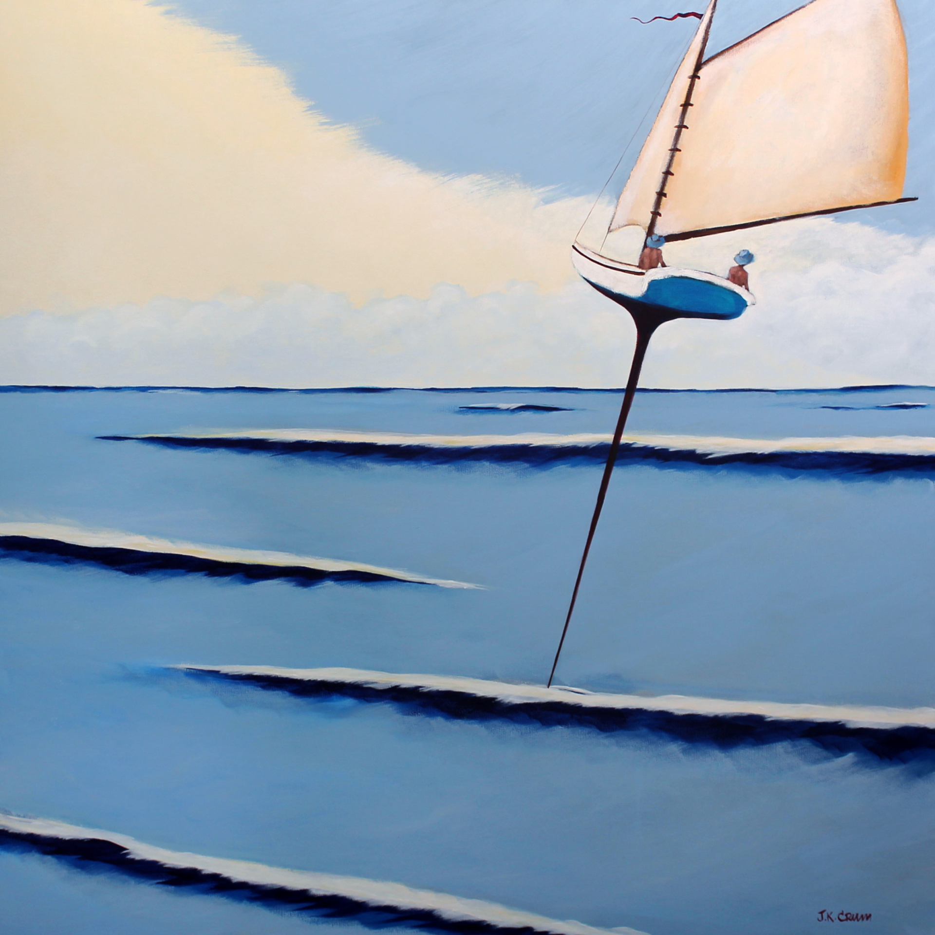 "hilton head art, low country art, lowcountry artist, south carolina artist, ""Easy Riders"" sailing art by J. K. Crum"