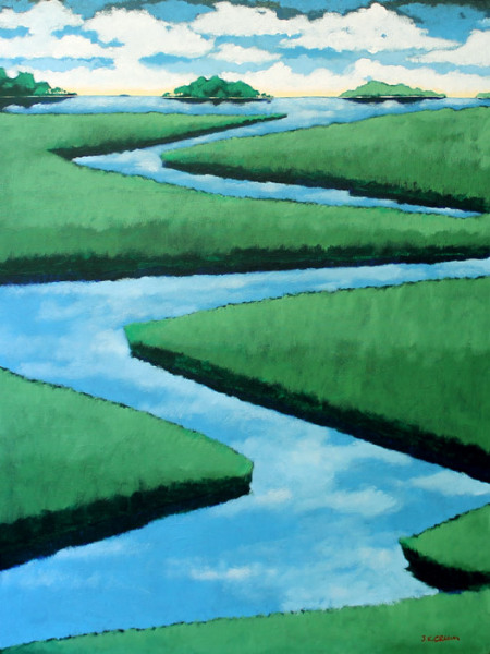 hilton head art, low country art, lowcountry artist, south carolina artist, A Lowcountry marsh painting by J. K. Crum