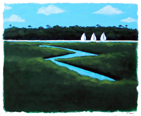 "hilton head art, low country art, lowcountry artist, south carolina artist, ""Marsh Regatta"" gently surreal marsh painting by J. K. crum"