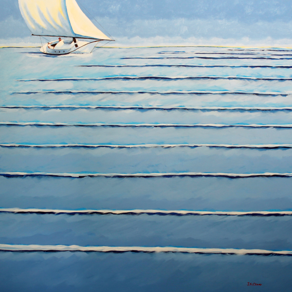 "hilton head art, low country art, lowcountry artist, south carolina artist, ""Roll Me Gently"" gently surreal sailing art by J. K. Crum"