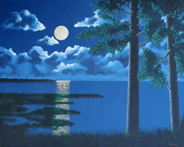"hilton head art, low country art, lowcountry artist, south carolina artist, ""Moonshine"" gentle coastal surrealism by J. K. Crum"
