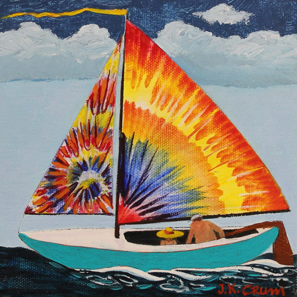 hilton head art, low country art, lowcountry artist, south carolina artist, Tie-dye sailboat by J. K. crum