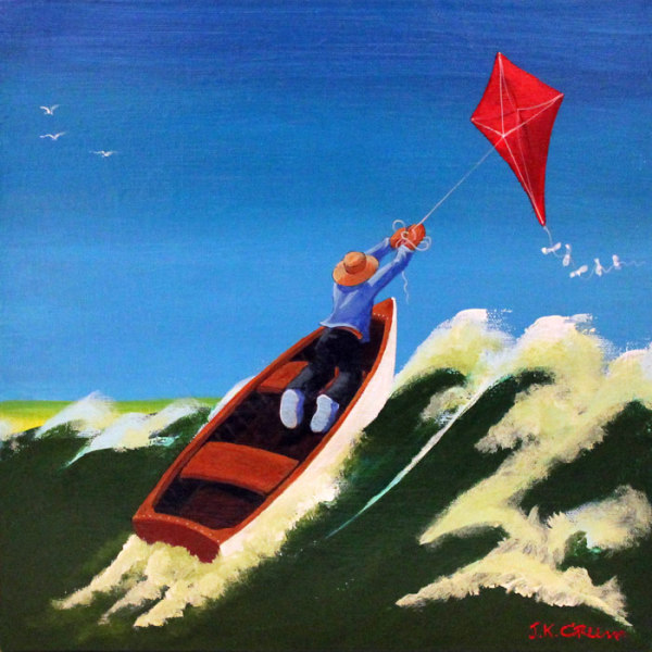 hilton head art, low country art, lowcountry artist, south carolina artist, Whimsical boating art by J. K. crum