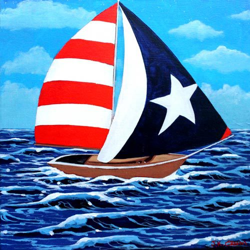 hilton head art, low country art, lowcountry artist, south carolina artist, Sailing art by J. K. Crum