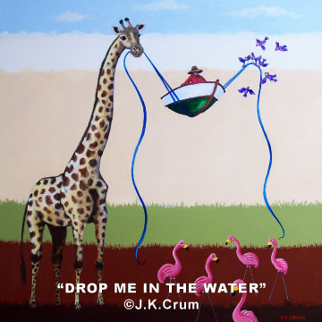 """Drop Me In The Water"" 36x36 surrealism by J. K. Crum"