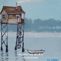"""Morning Burn"" foggy morning seascape by J. K. Crum"